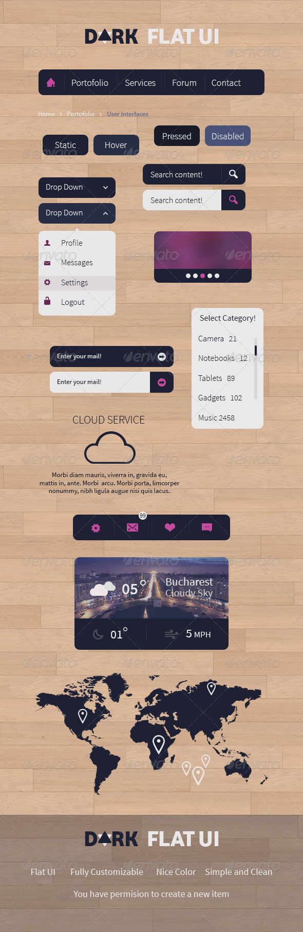 GraphicRiver Dark Flat UI 5214268