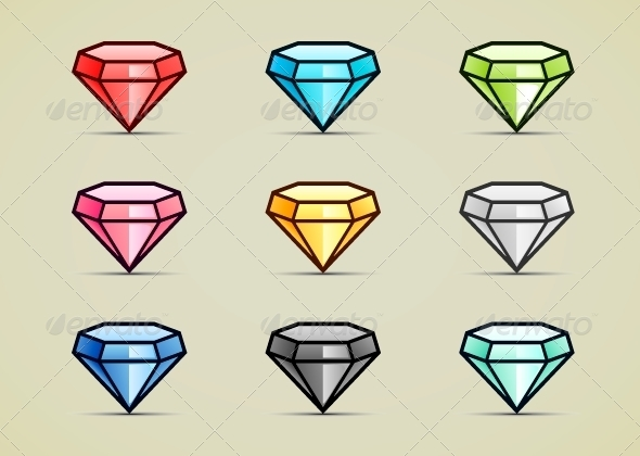 GraphicRiver Nine Colorful Diamonds 5230300