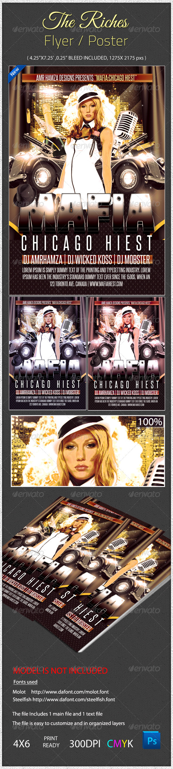 Chicago Hiest Gangster Theme Flyer