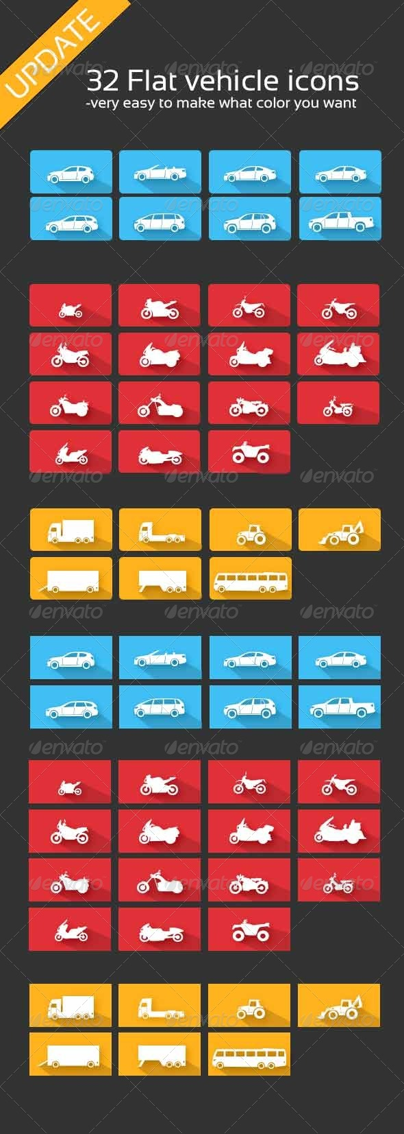 Vehicle Icons - Man-made objects Objects