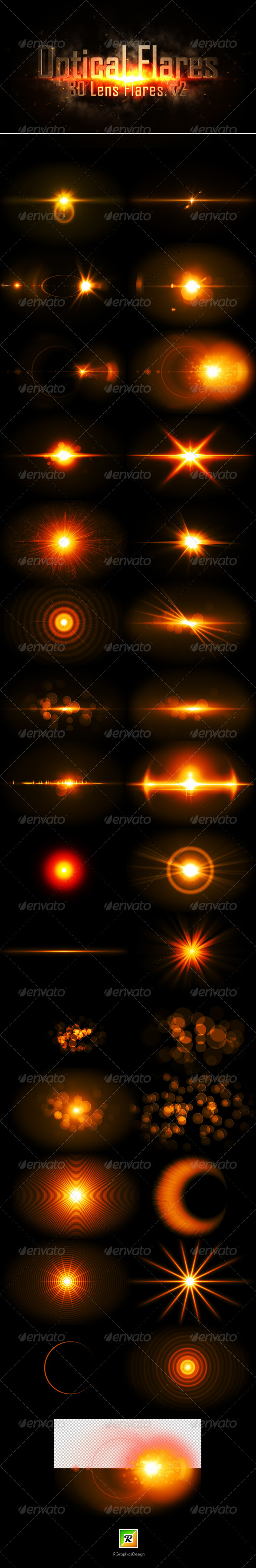 Optical Flares - 30 Lens flares .v2 GraphicRiver