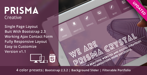 Prisma - One page Responsive Creative HTML5 Template