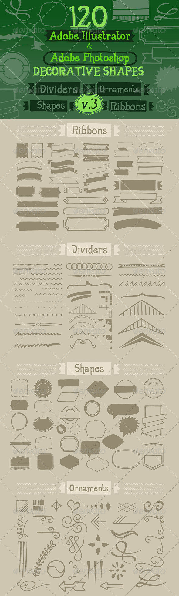 GraphicRiver 120 Handwritten Decorative Shapes 03 5232534
