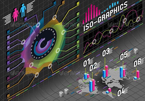 GraphicRiver Isometric Infographic Flower Histogram Elements 5232614