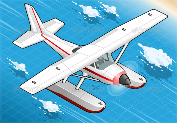GraphicRiver Isometric Flying Seaplane in Front View 5232629