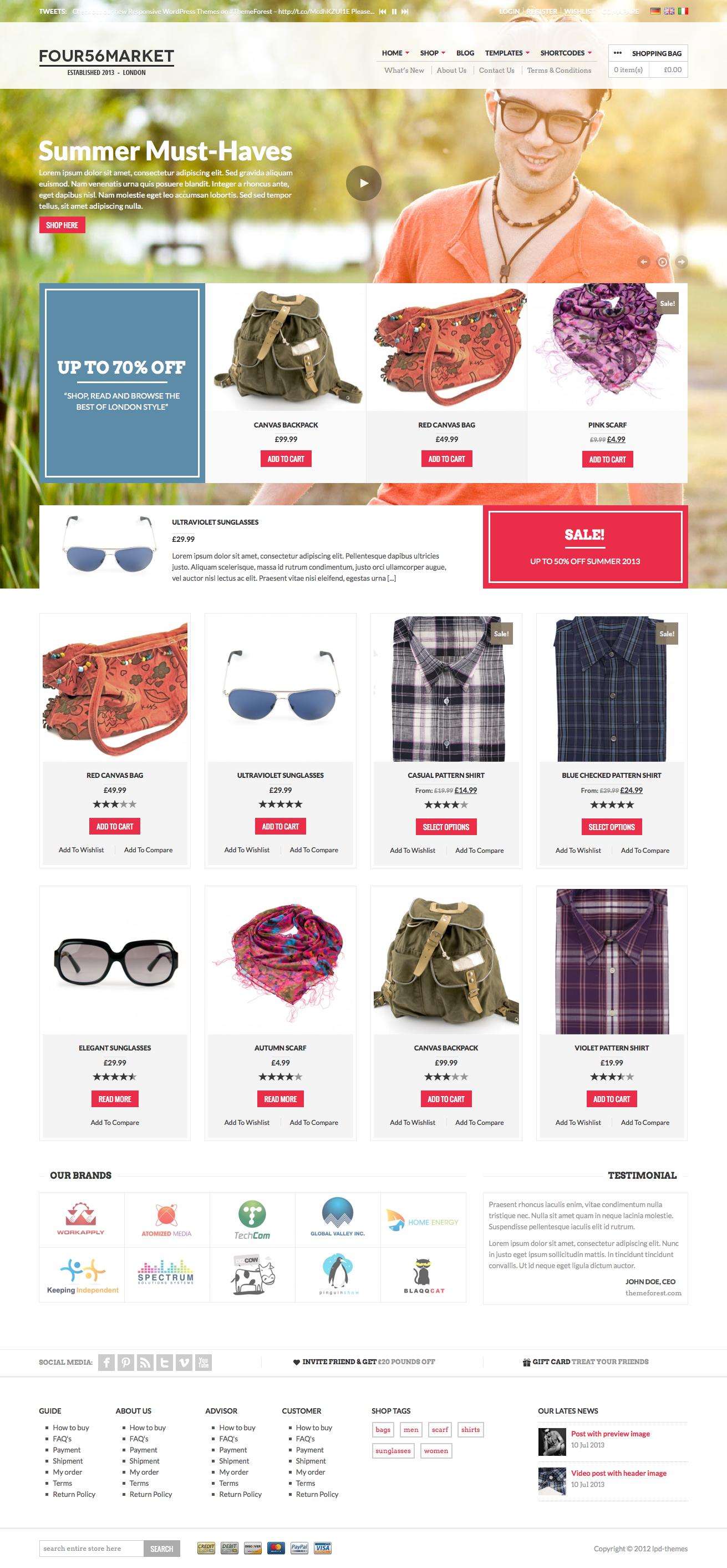 456Market eCommerce WordPress Theme - Front Version I
