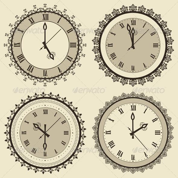 GraphicRiver Vintage Clock Set 5232839