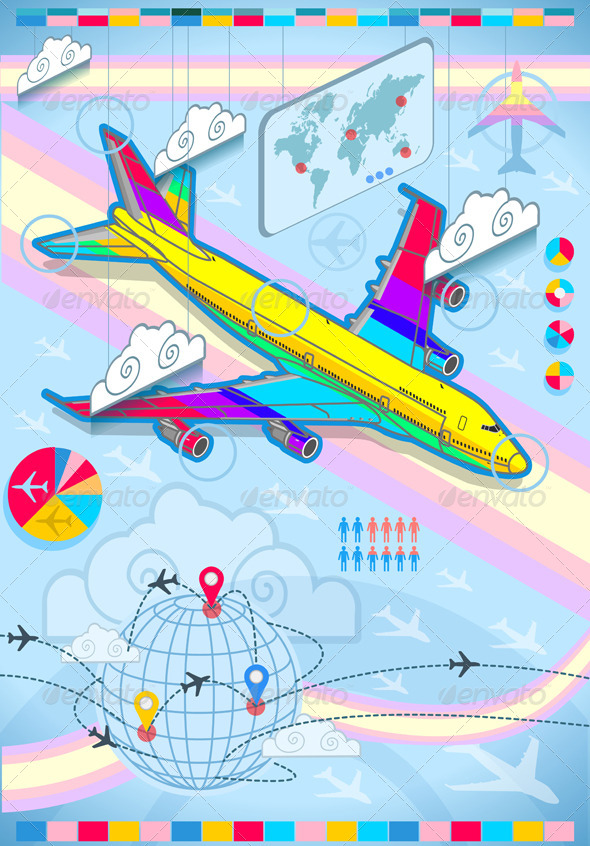 GraphicRiver Infographic Set Elements with Airplane in Rainbow 5232861