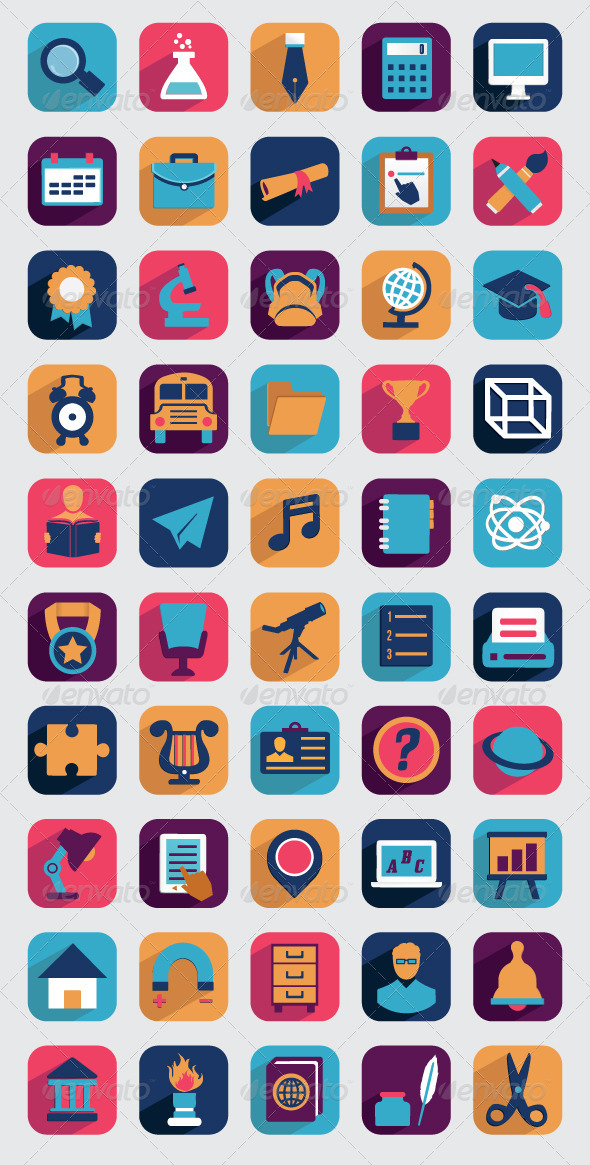 GraphicRiver Set of Flat Education Icons for Design 5220457