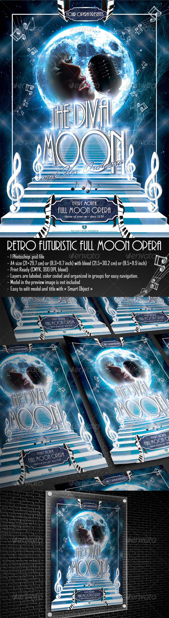 GraphicRiver Retro Futuristic Moon Opera Flyer 5233118