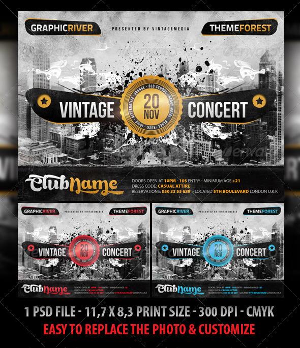 GraphicRiver Retro Vintage Indie Concert Flyer Poster 5233227