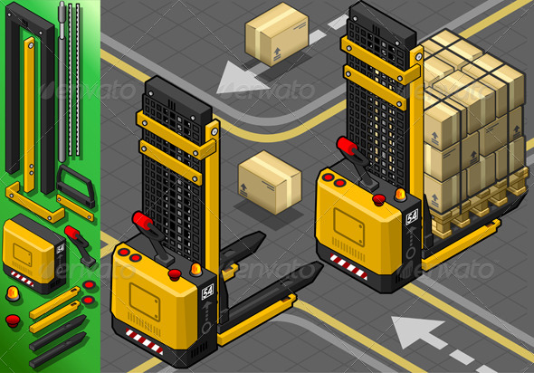 GraphicRiver Isometric Forklift in Two Positions in Rear View 5233271