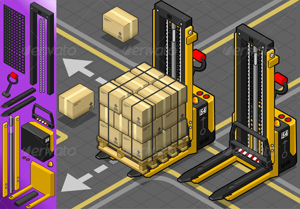 Isometric Forklift in Two Positions in Front View