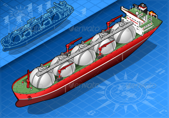 GraphicRiver Isometric Gas Tanker Ship Isolated in Rear View 5233482