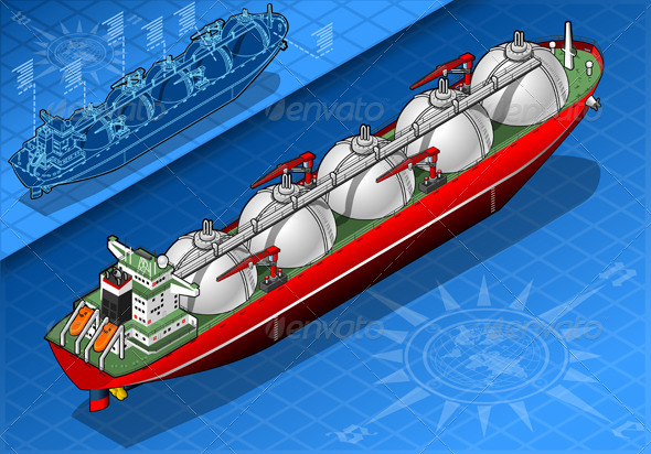 GraphicRiver Isometric Gas Tanker Ship Isolated in Front View 5233485