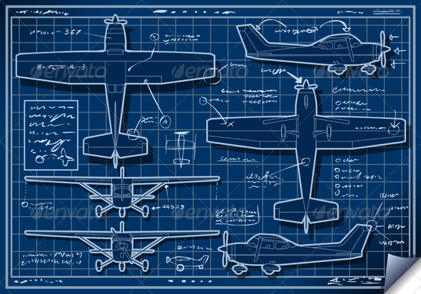 GraphicRiver Plane Blue Project in Five Orthogonal Views 5233494