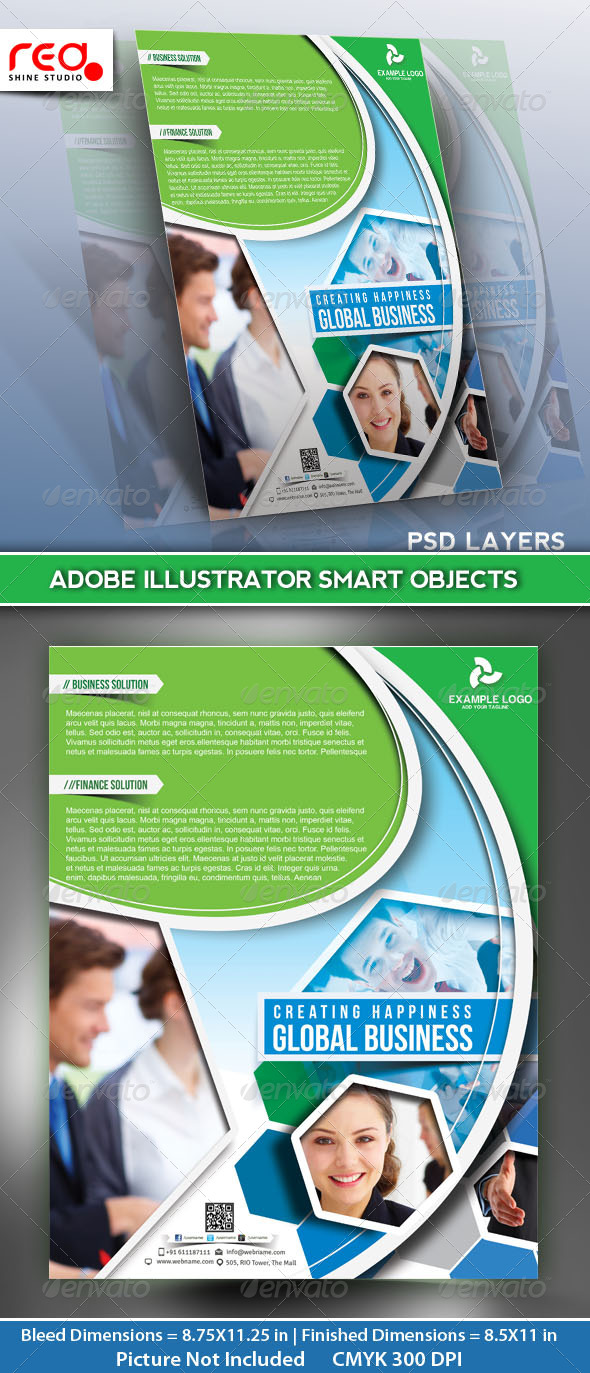 Global Business Flyer Poster Magazine Template 01