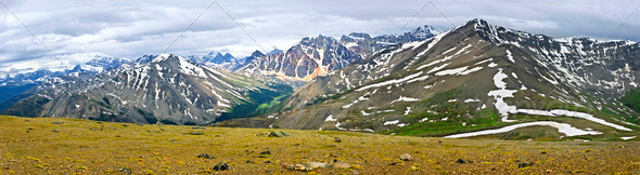 Panorama of Rocky Mountains in Jasper National Park, Canada - Stock Photo - Images