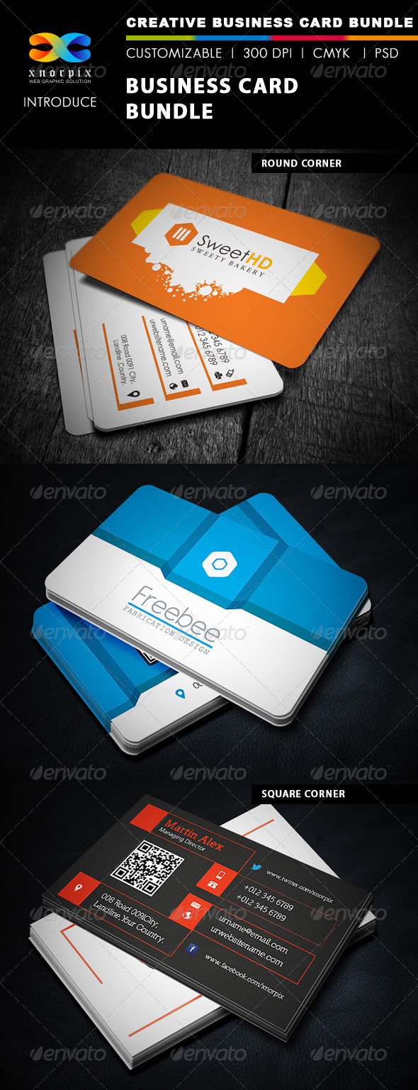 GraphicRiver Business Card Bundle 3 in 1-Vol 14 5233947