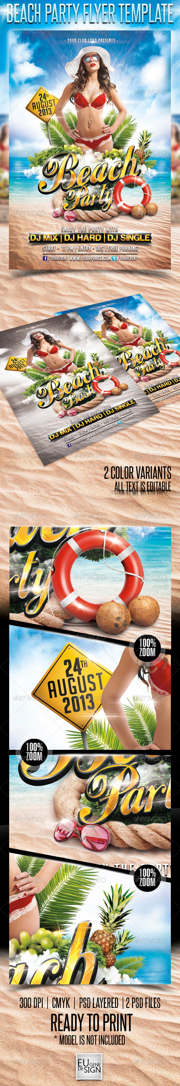 Beach Party Flyer Template - Flyers Print Templates