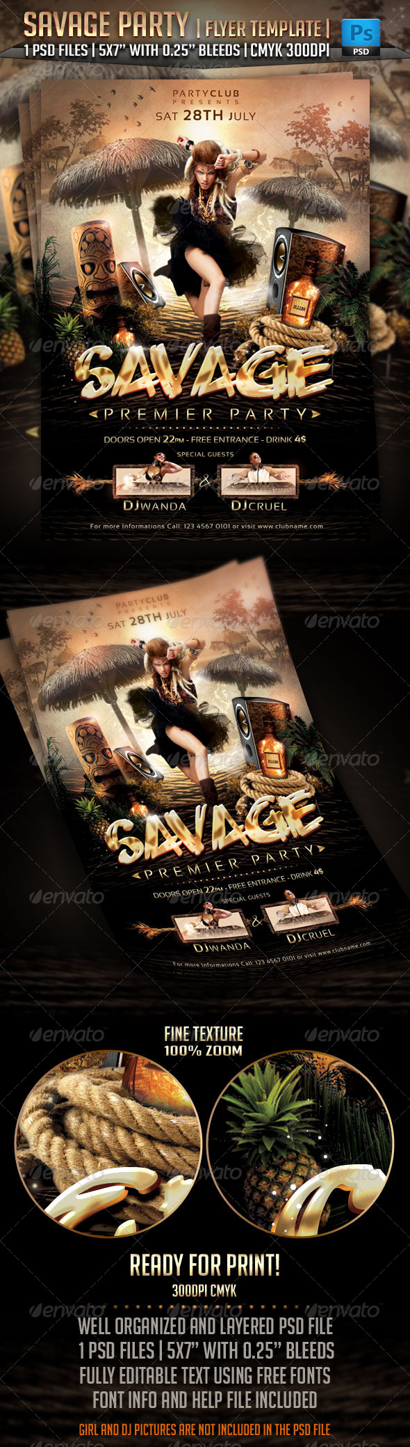 GraphicRiver Savage Party Flyer Template 5179617
