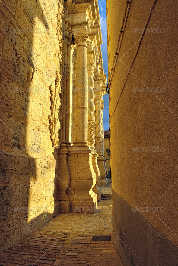 Cathedral in old town Ares in Spain. - Stock Photo - Images