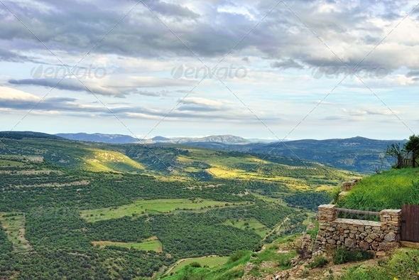 Mountain view. Small town Ares in Spain. - Stock Photo - Images