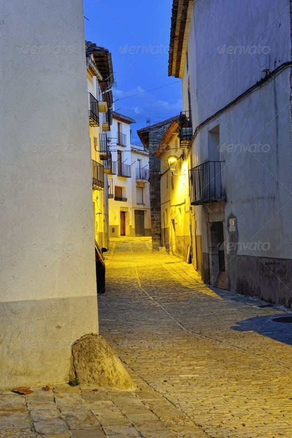 Streets of the old town Ares in Spain.  Evening time. - Stock Photo - Images