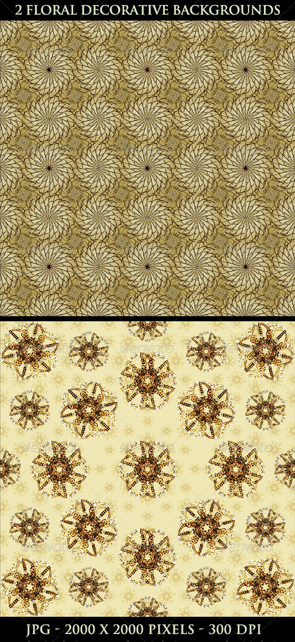 2 Floral Decorative Background Pattern - Flourishes / Swirls Decorative
