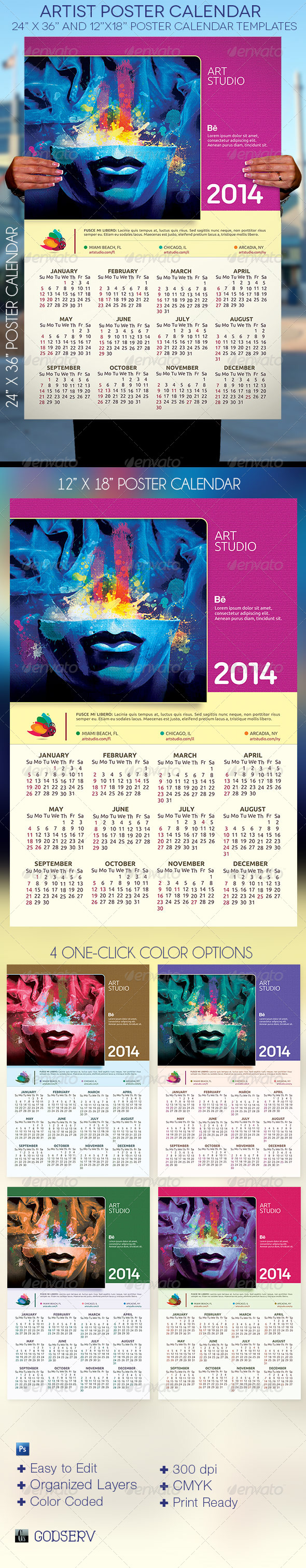 Artist Poster Calendar Template - Calendars Stationery