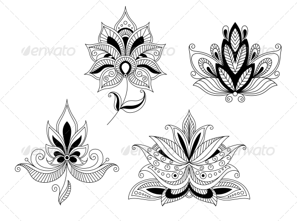 GraphicRiver Set of Indian and Persian Flower Blossoms 5237348