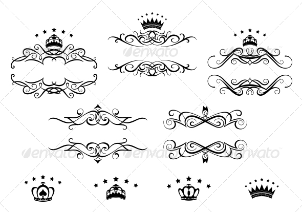 GraphicRiver Retro Frames Set with Royal Crowns 5237460