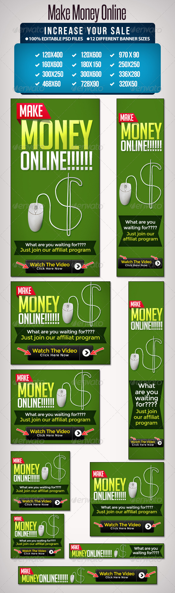 GraphicRiver Make Money Online Banner Set 12 Sizes 5237647