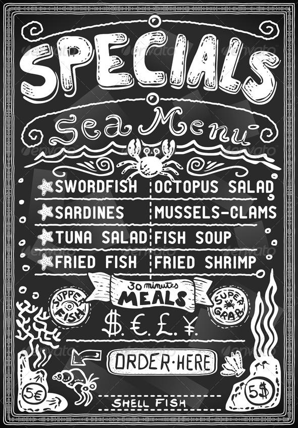 GraphicRiver Vintage Menu for Restaurant on Blackboard 5232884