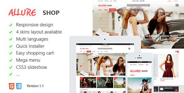 01 preview.  large preview - Allure Responsive Magento Theme
