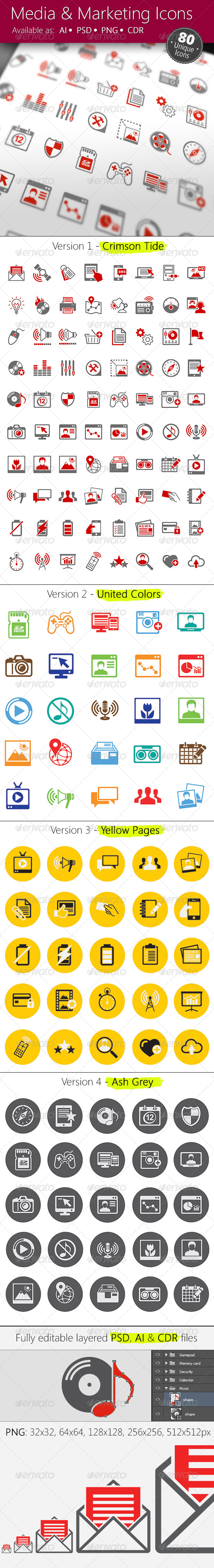 Media & Marketing Icons Set - Web Icons
