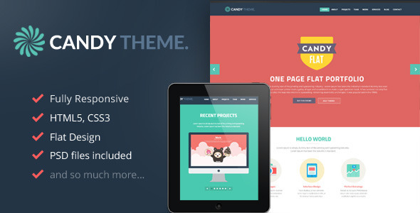ThemeForest Candy Flat Onepage Responsive HTML5 Template 5230066