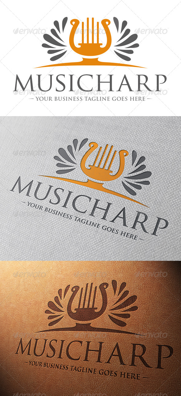 Music Harp Logo Template