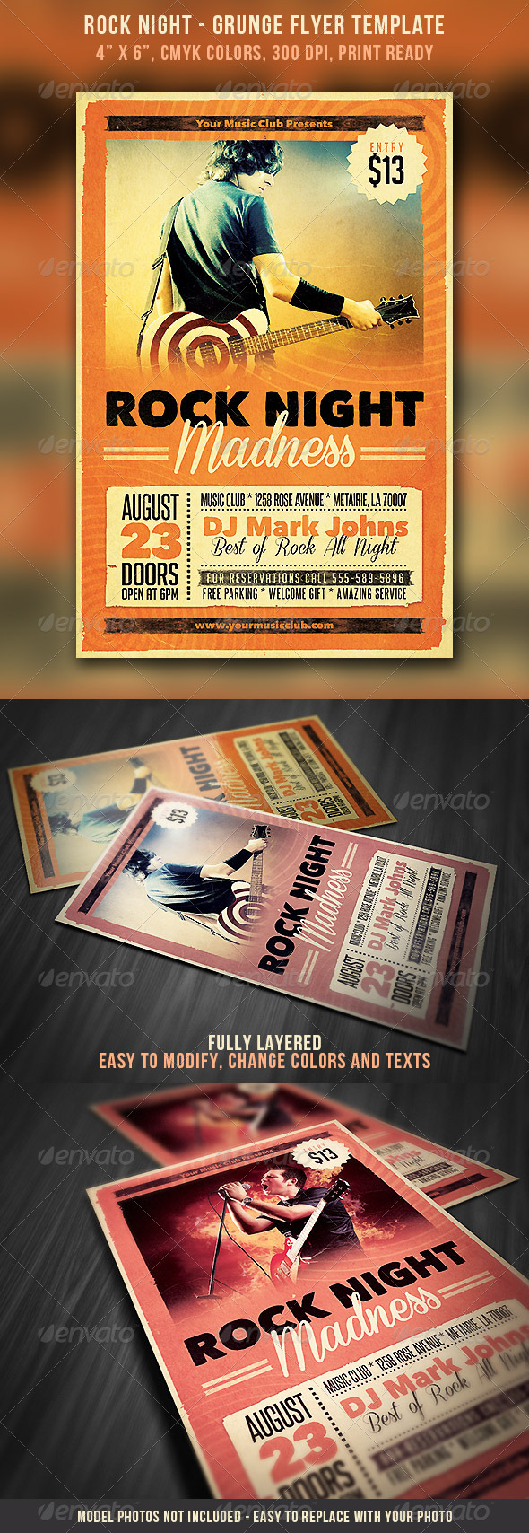 GraphicRiver Rock Night Grunge Flyer 5239851