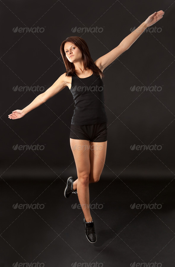 Excited young sporty girl - Stock Photo - Images