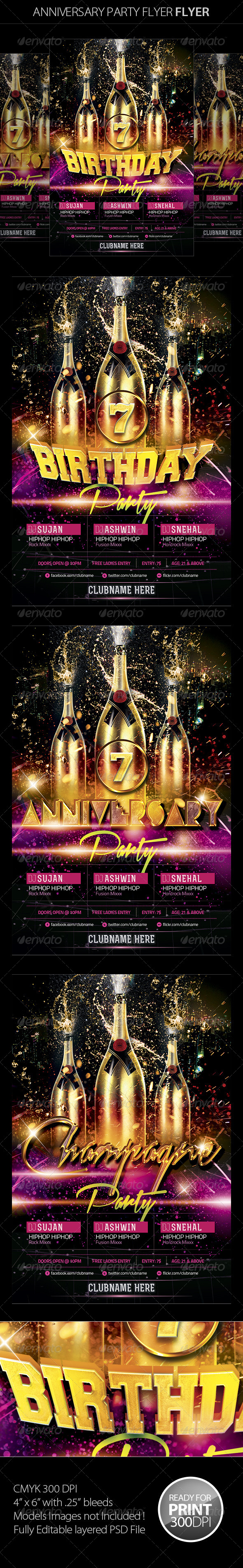 GraphicRiver Birthday Anniversary Party Flyer 5240865