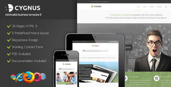 Cygnus - Minimalist Business Template 8 - Corporate Site Templates
