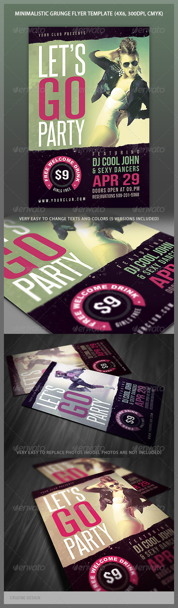 Minimalistic Grunge Party Flyer - Clubs & Parties Events