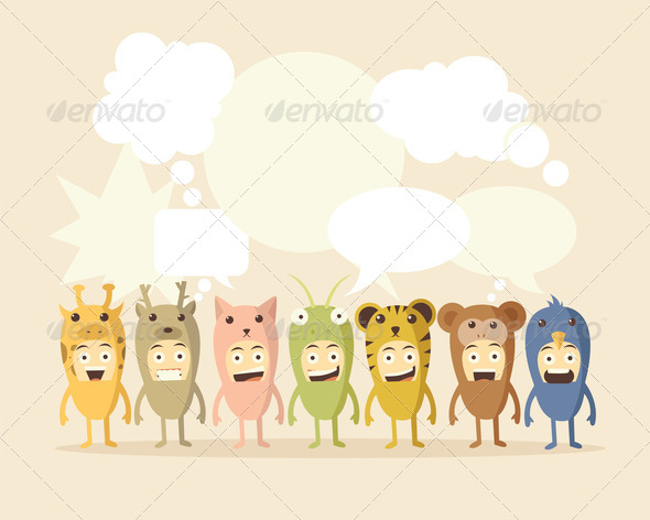 Animal and Speech Bubbles - Stock Photo - Images