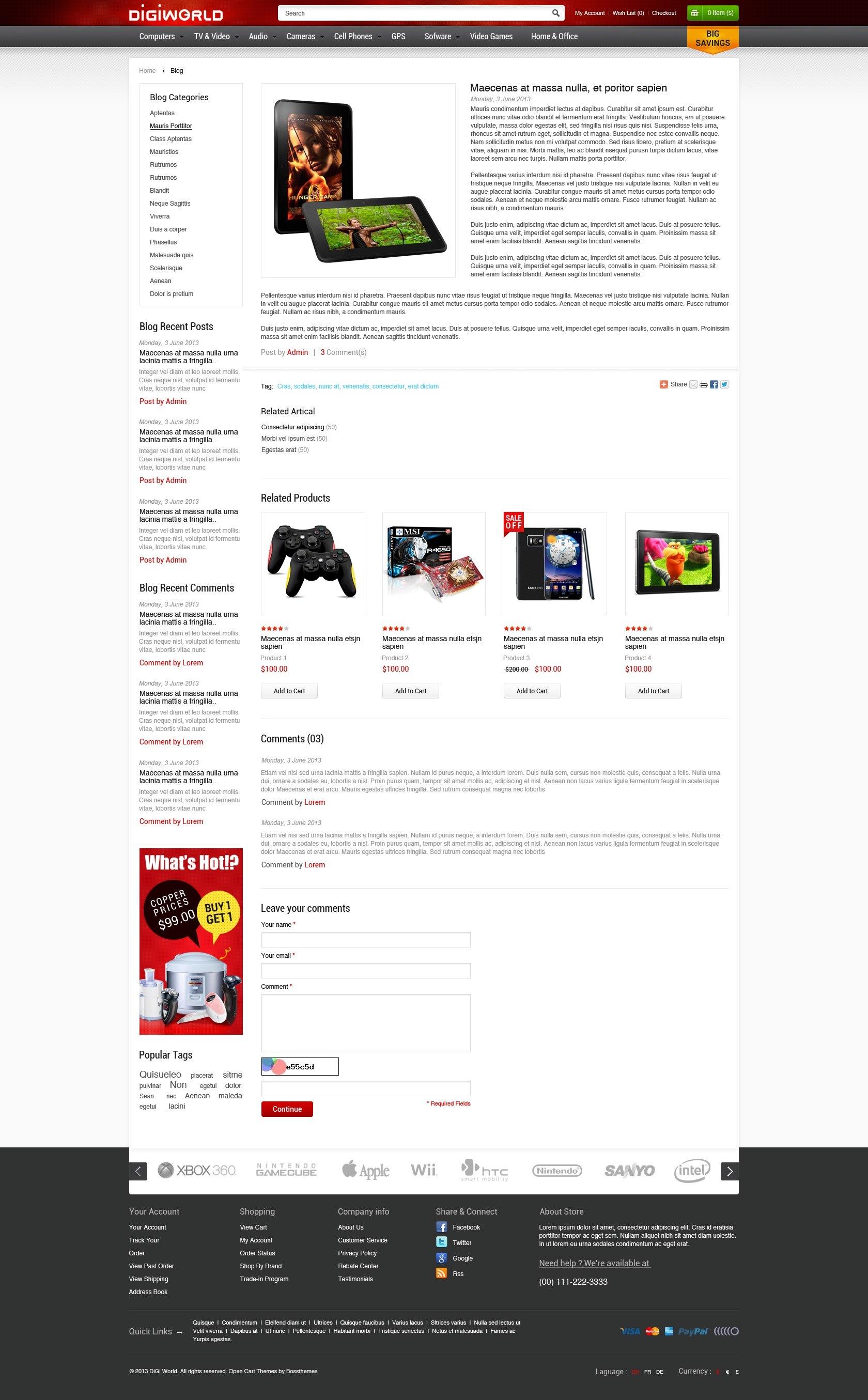 Premium Responsive OpenCart Theme - Digital World