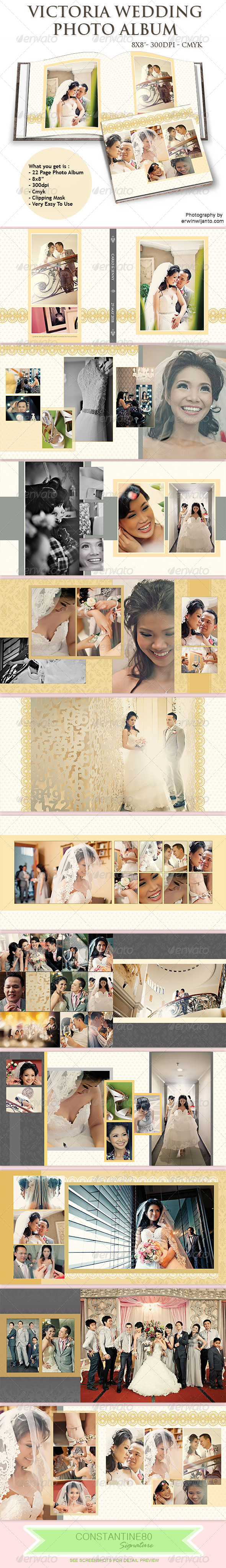 Victoria Wedding Photo Album - Photo Albums Print Templates