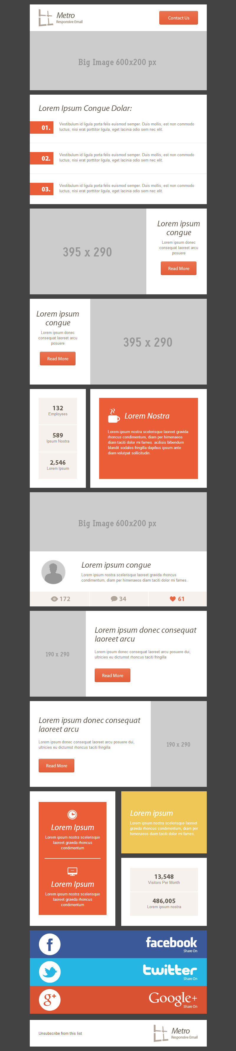 54 General Metro Email Templates - Dark / Light