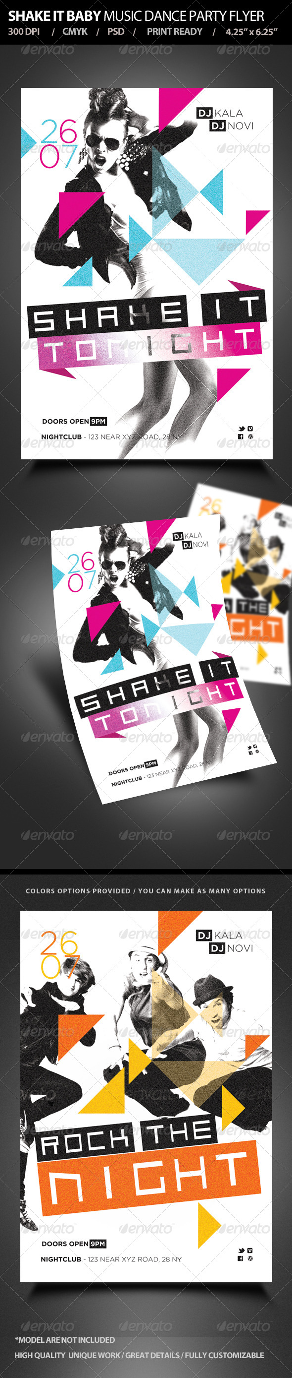 Shake It Music Dance Party Flyer - Clubs & Parties Events