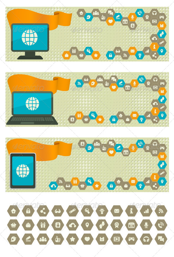 GraphicRiver Web Banners with Different Devices 5242456