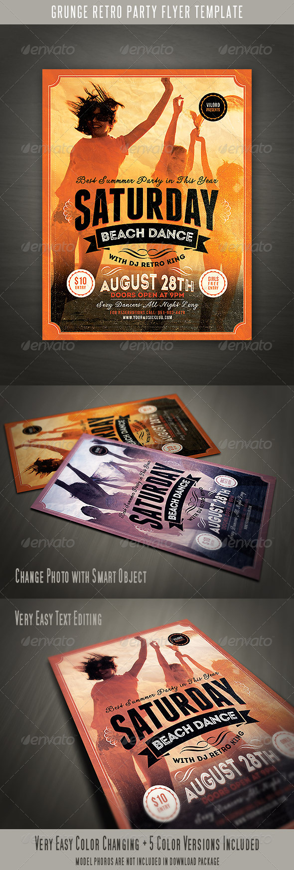 Grunge Retro Party Flyer - Events Flyers